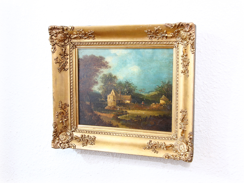 A country cottage with the figure  /Oil Painting