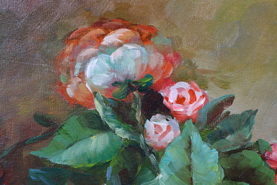 Peonies in a Vase / Oil Painting