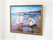 Three little girls on the beach / Oil Painting