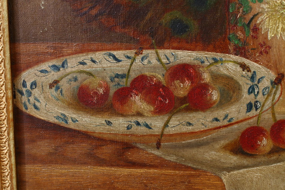 Fruit in a Bowl with Peacock feather/ Oil Painting