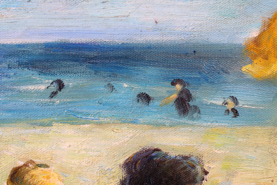 Beach Scene with Figures / Oil Painting