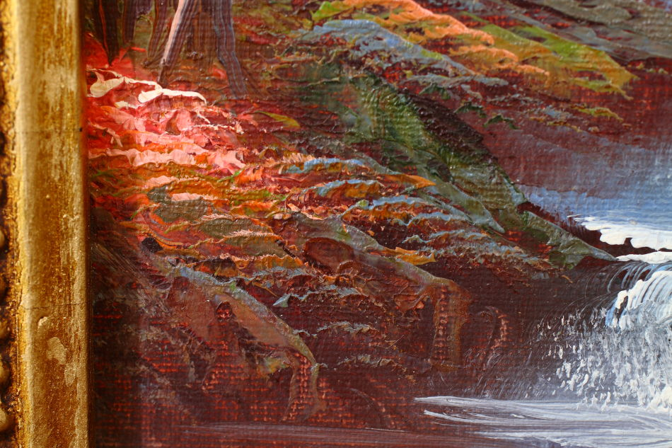 Autumnal Countryside River / Oil Painting