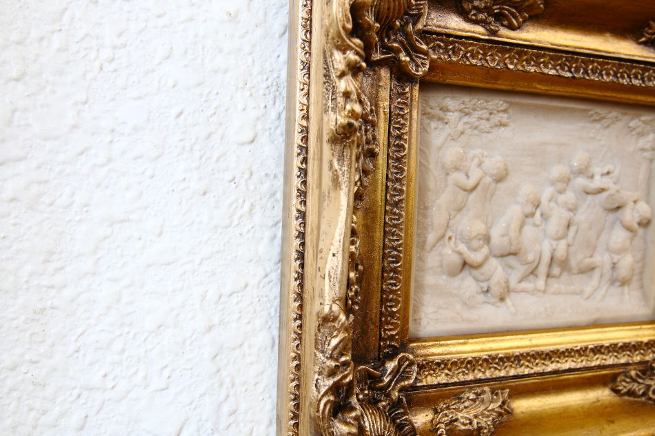 Cherubs at harvest White Carrara / plaque picture