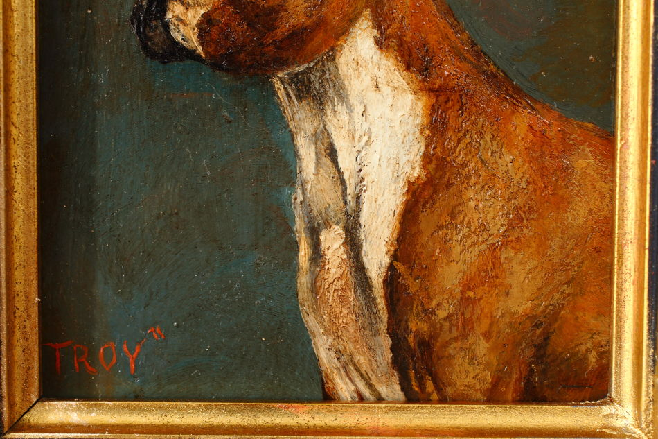 "Portrait of a Boxer Dog ""TROY"" / Oil Painting"