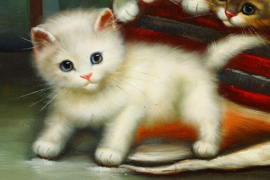 Portrait of Kittens at Play / Oil Painting