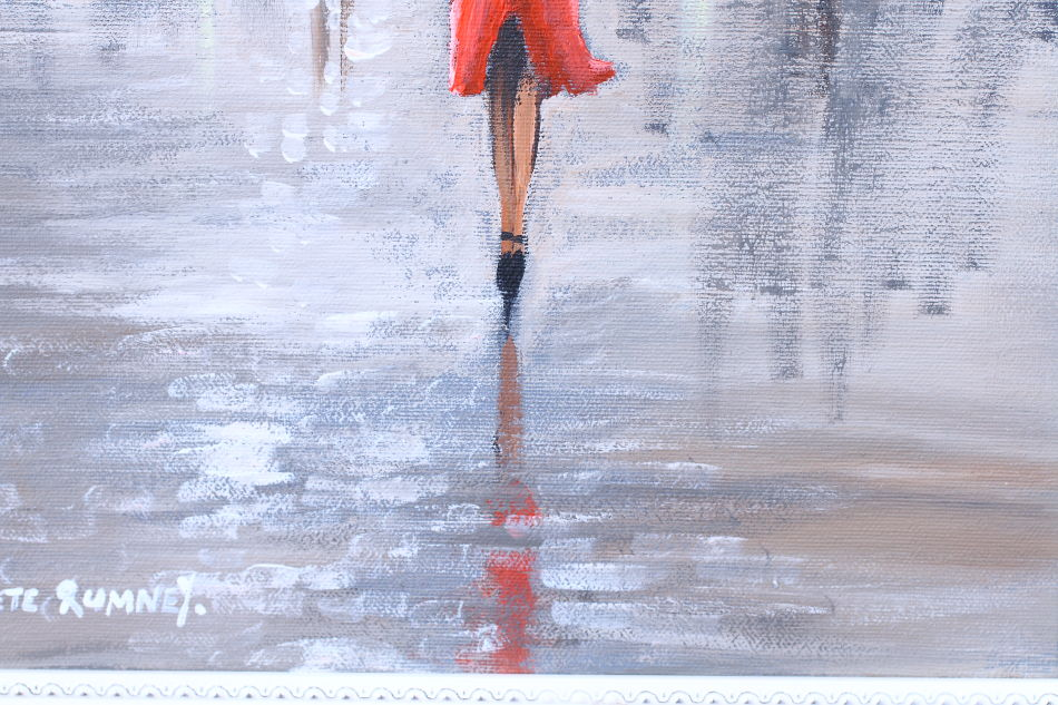Red coat in evening rain / Oil Painting