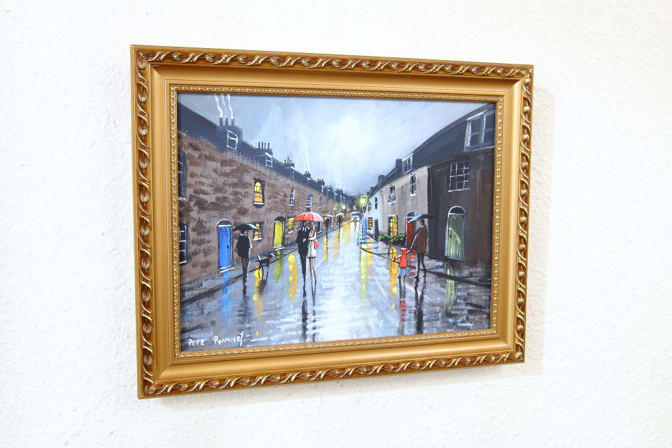 Rainy afternoon on castle row / Oil Painting