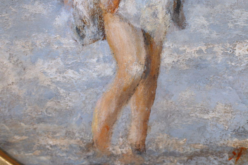 Girl Paddling / Oil Painting