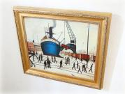 Cranes and Ships, Glasgow Docks / Oil Painting